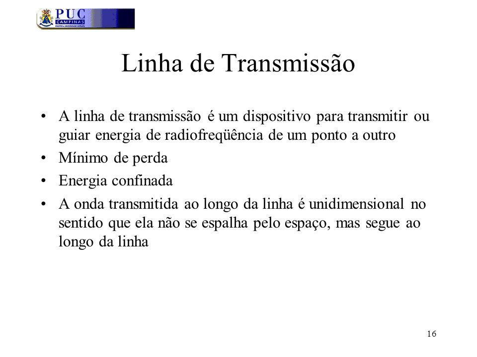 Linha de Transmissão A linha de transmissão é um dispositivo para transmitir ou guiar energia de radiofreqüência de um ponto a outro.