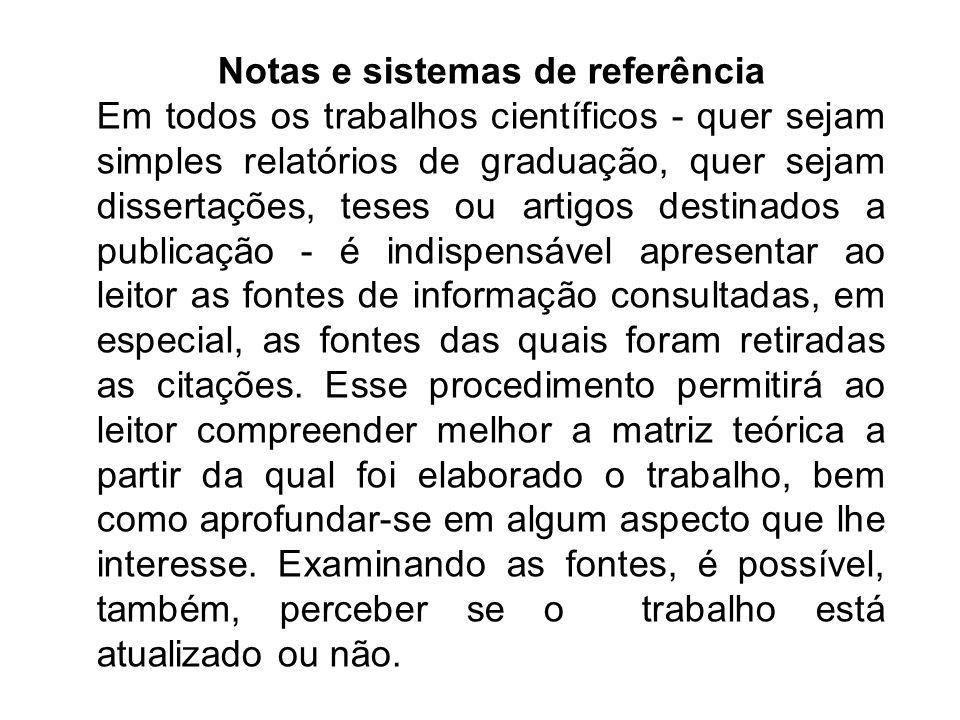 Notas e sistemas de referência