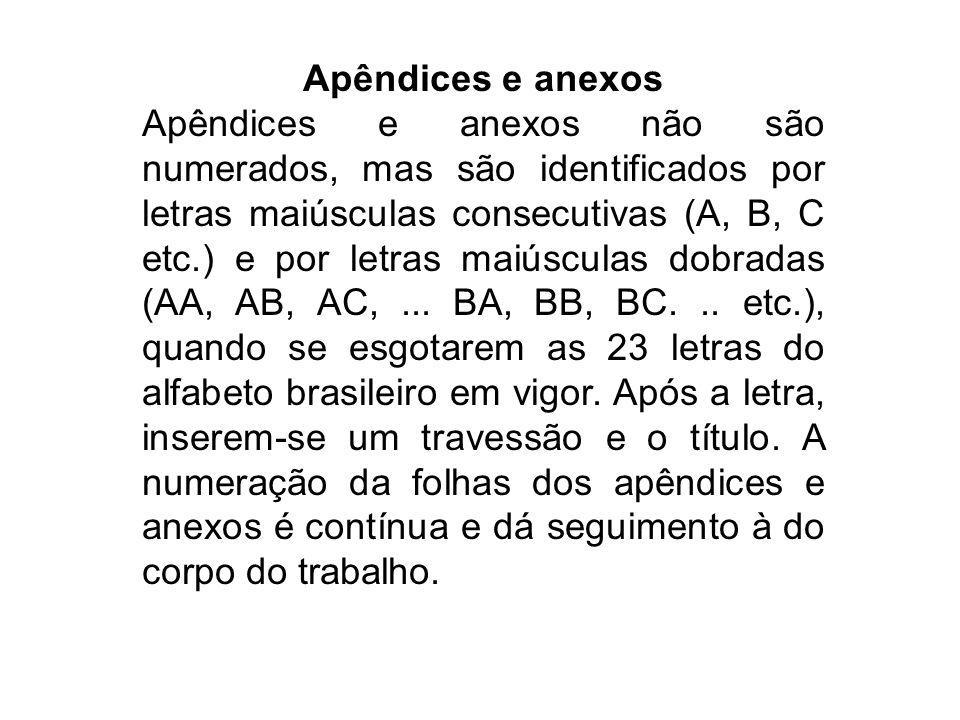 Apêndices e anexos