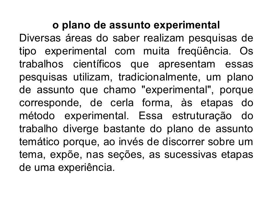 o plano de assunto experimental