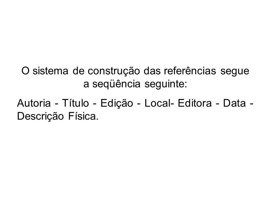 O sistema de construção das referências segue a seqüência seguinte: