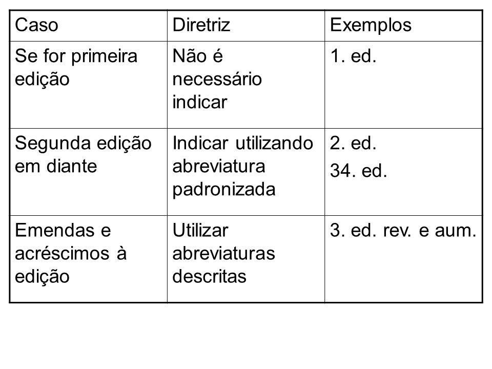 Caso Diretriz. Exemplos. Se for primeira edição. Não é necessário indicar. 1. ed. Segunda edição em diante.