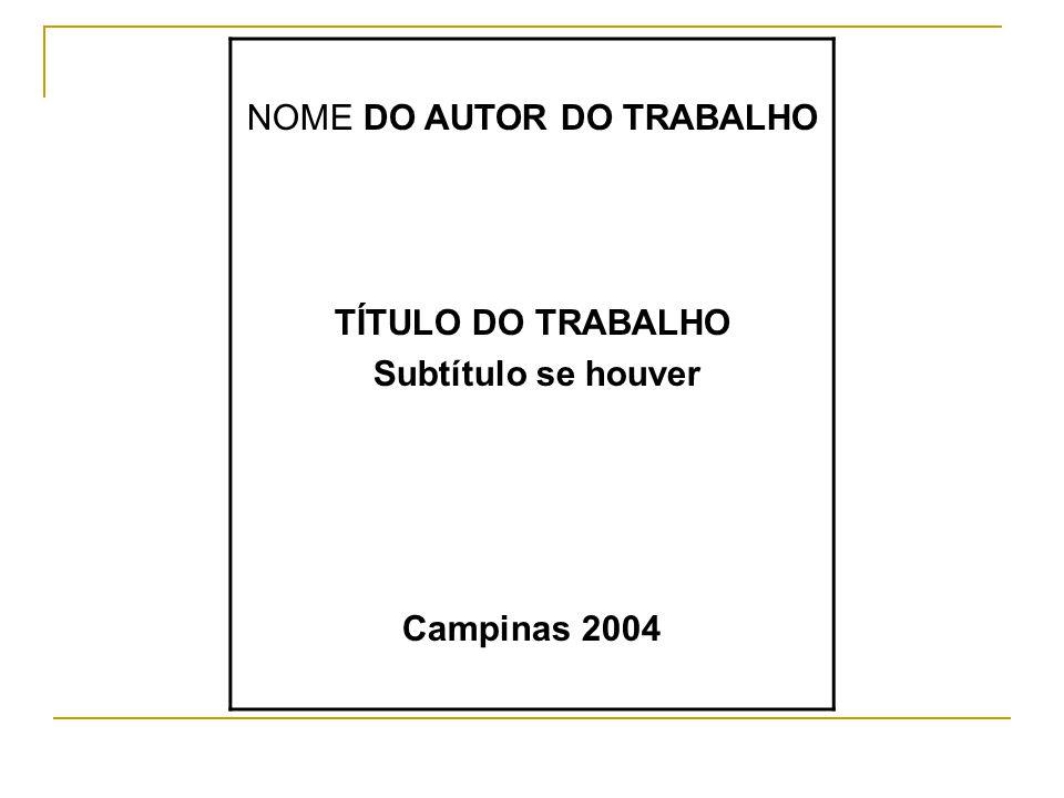 NOME DO AUTOR DO TRABALHO