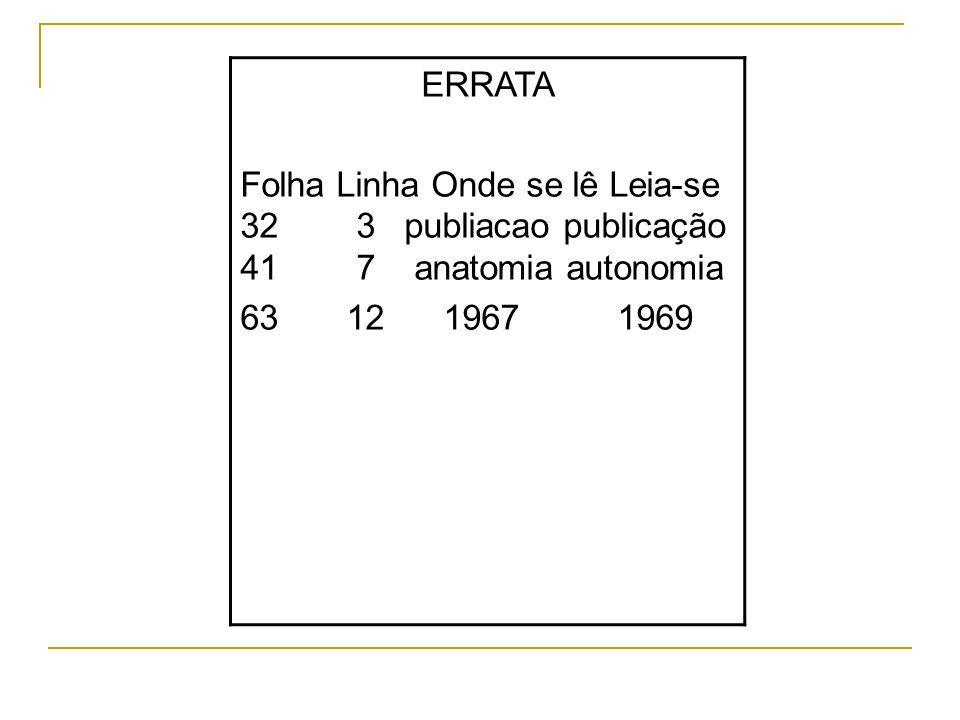 ERRATA Folha Linha Onde se lê Leia-se 32 3 publiacao publicação 41 7 anatomia autonomia.