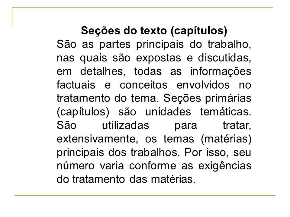 Seções do texto (capítulos)