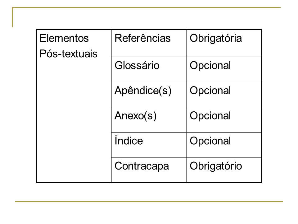Elementos Pós-textuais. Referências. Obrigatória. Glossário. Opcional. Apêndice(s) Anexo(s) Índice.