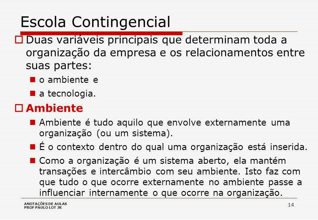Escola Contingencial Ambiente pode ser analisado em dois segmentos