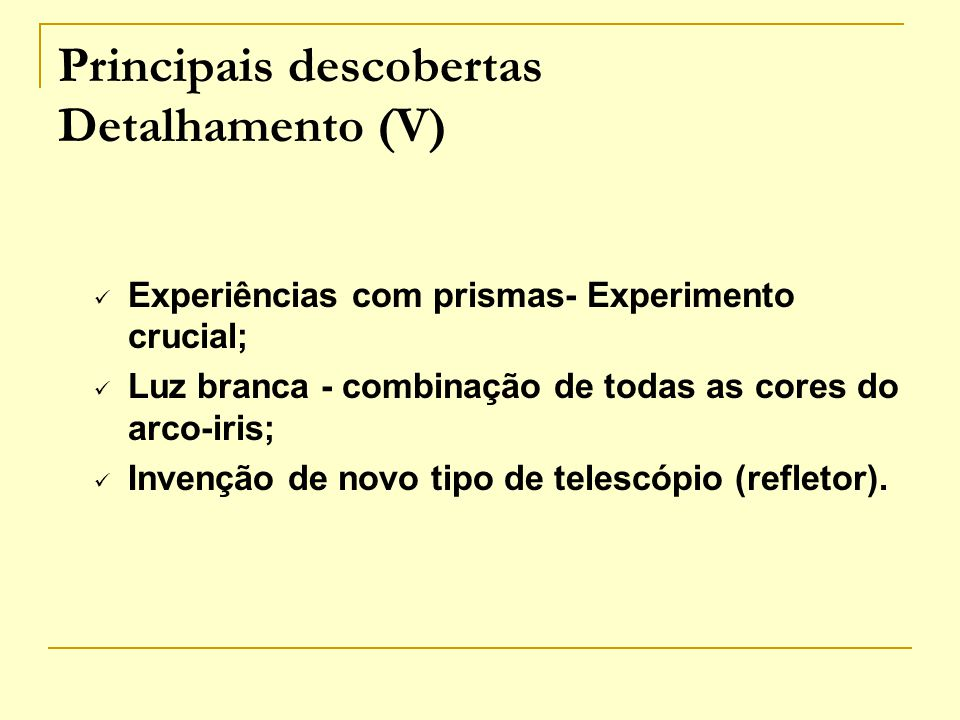 Principais descobertas Detalhamento (V)
