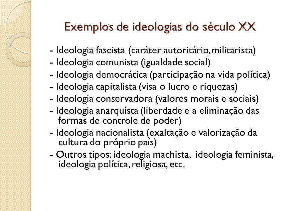 Exemplos de ideologias do século XX
