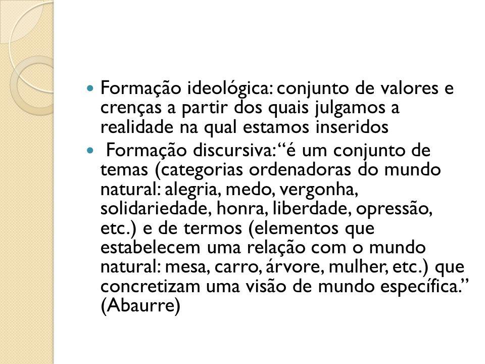 Formação ideológica: conjunto de valores e crenças a partir dos quais julgamos a realidade na qual estamos inseridos