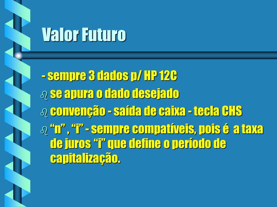 Valor Futuro - sempre 3 dados p/ HP 12C se apura o dado desejado