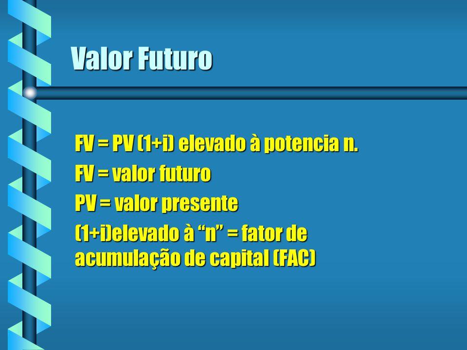 Valor Futuro FV = PV (1+i) elevado à potencia n. FV = valor futuro