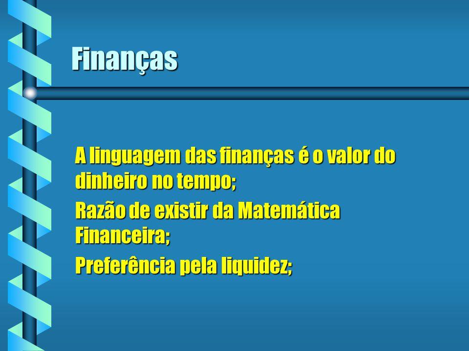 Finanças A linguagem das finanças é o valor do dinheiro no tempo;