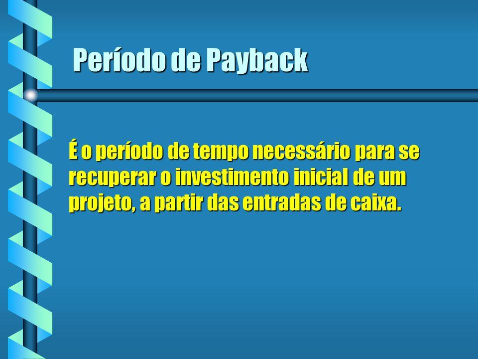 Período de Payback É o período de tempo necessário para se recuperar o investimento inicial de um projeto, a partir das entradas de caixa.