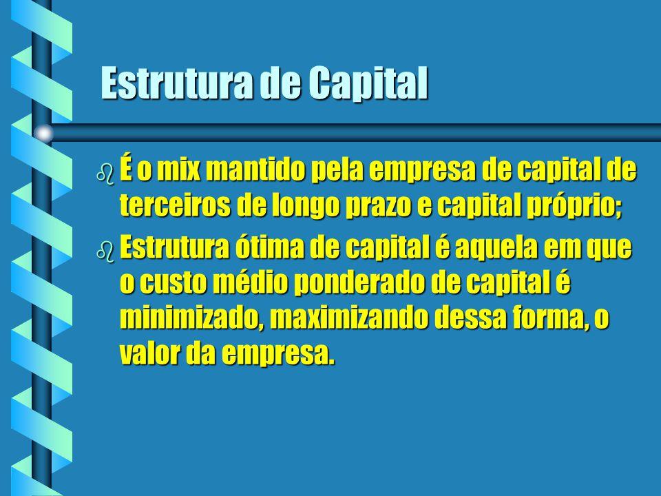 Estrutura de Capital É o mix mantido pela empresa de capital de terceiros de longo prazo e capital próprio;