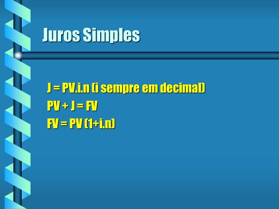 J = PV.i.n (i sempre em decimal) PV + J = FV FV = PV (1+i.n)