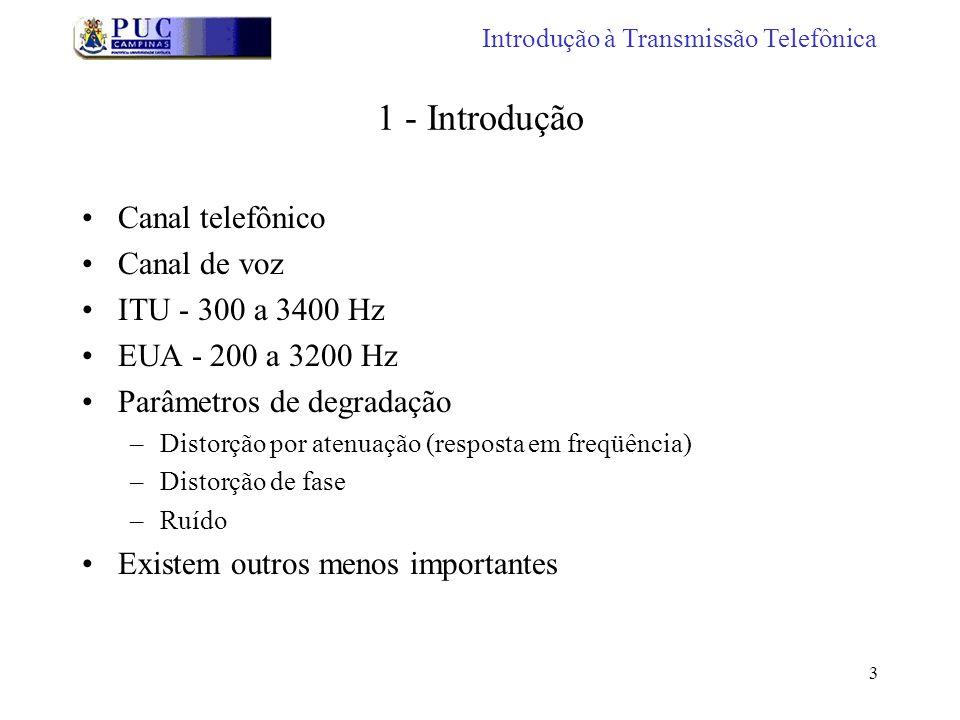 1 - Introdução Canal telefônico Canal de voz ITU - 300 a 3400 Hz