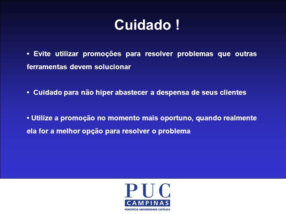 Cuidado ! • Evite utilizar promoções para resolver problemas que outras ferramentas devem solucionar.