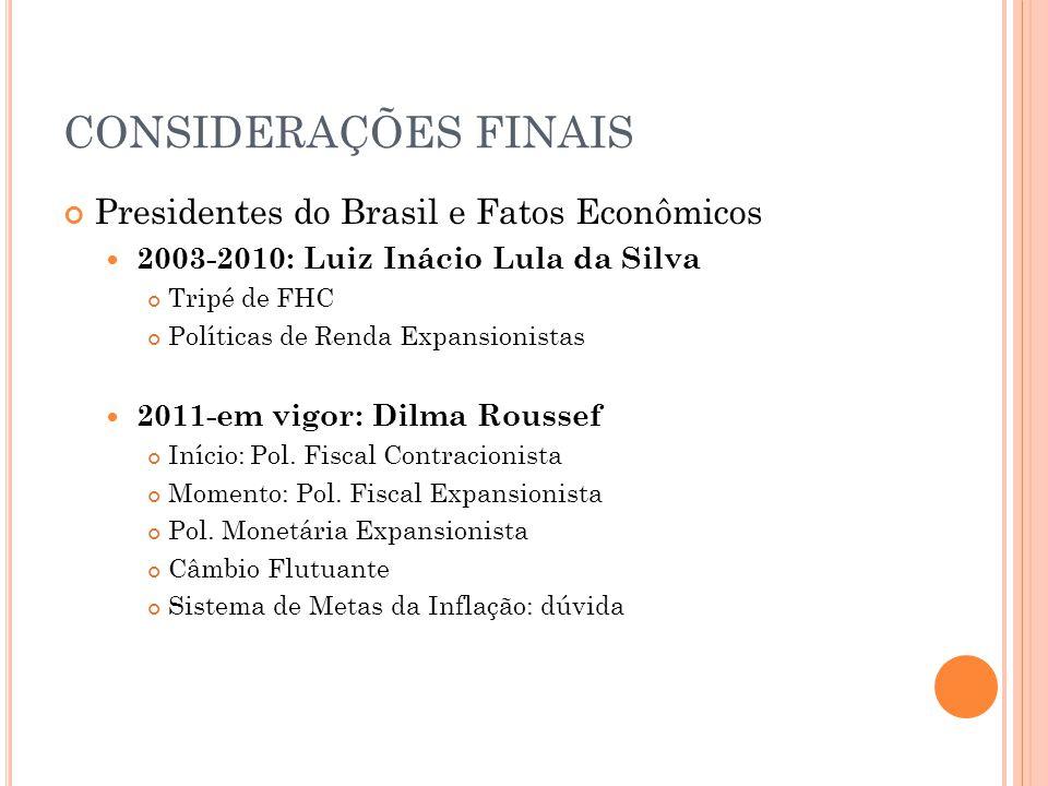CONSIDERAÇÕES FINAIS Presidentes do Brasil e Fatos Econômicos