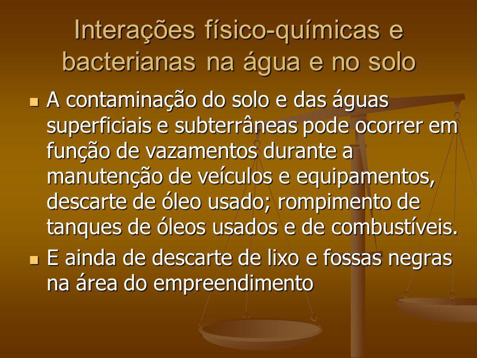 Interações físico-químicas e bacterianas na água e no solo