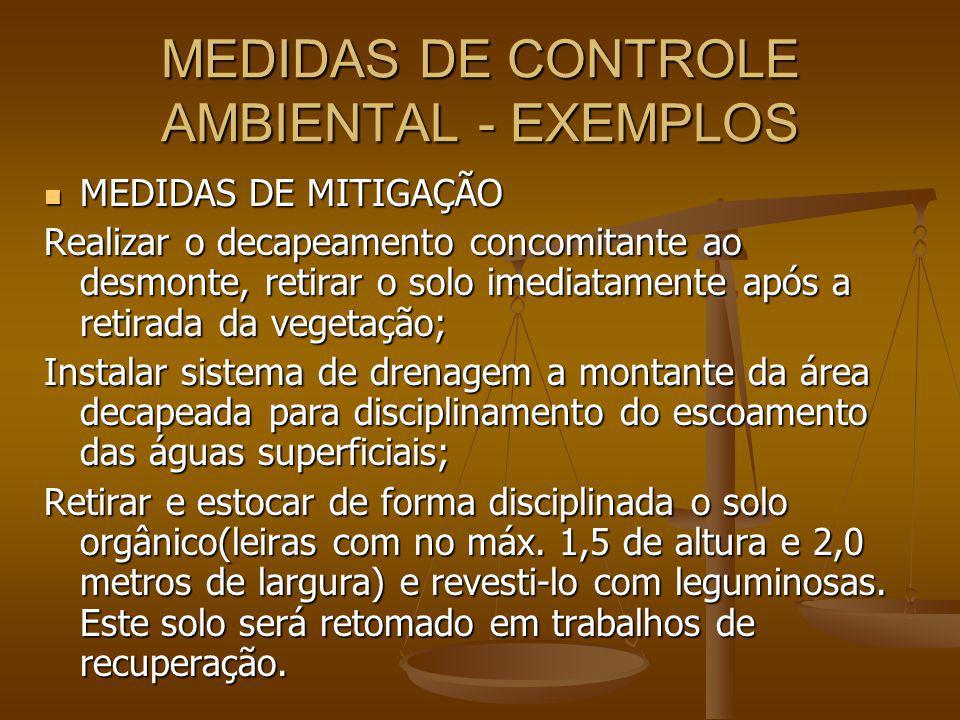 MEDIDAS DE CONTROLE AMBIENTAL - EXEMPLOS