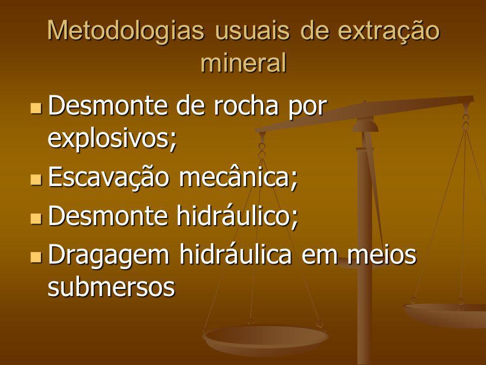 Metodologias usuais de extração mineral