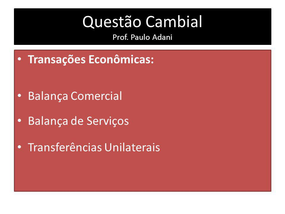 Questão Cambial Prof. Paulo Adani