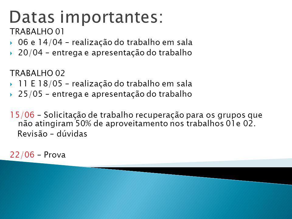 Datas importantes: TRABALHO 01