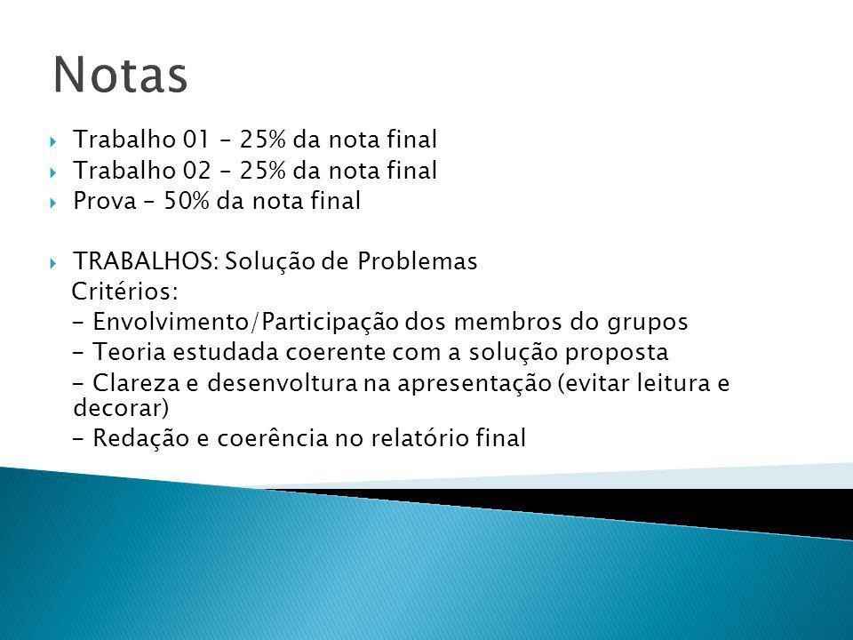 Notas Trabalho 01 – 25% da nota final Trabalho 02 – 25% da nota final