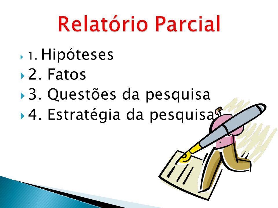 Relatório Parcial 2. Fatos 3. Questões da pesquisa
