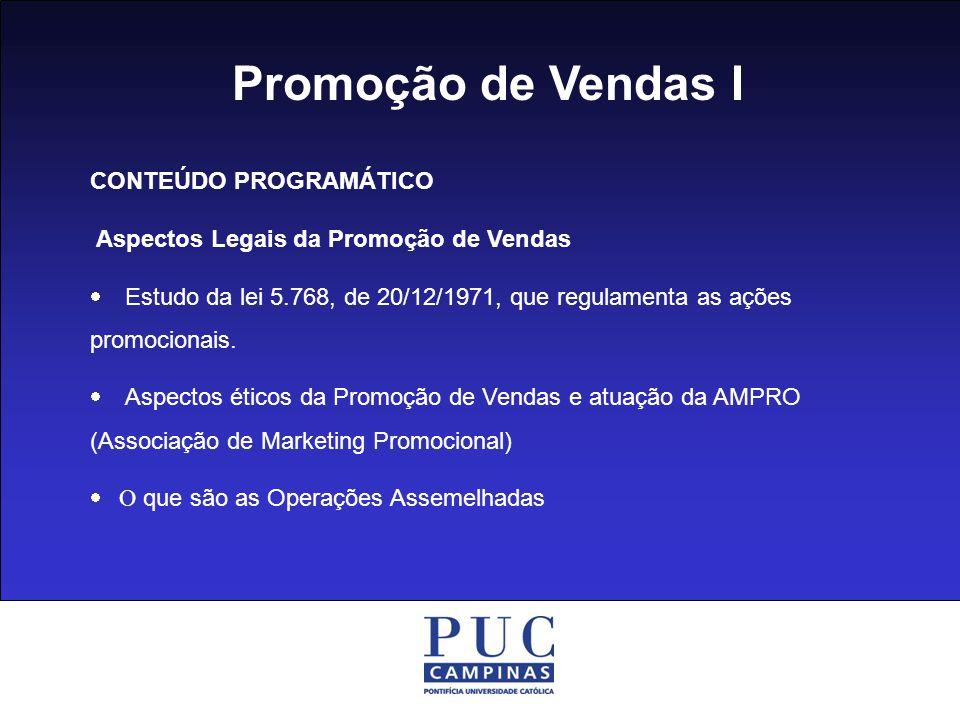 Promoção de Vendas I CONTEÚDO PROGRAMÁTICO