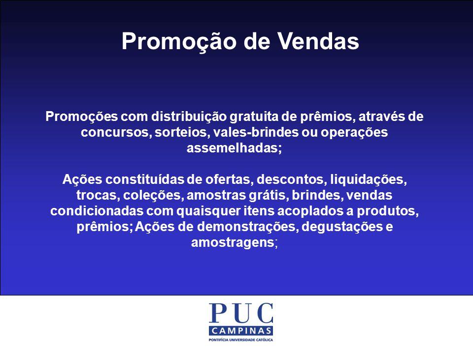 Promoção de Vendas Promoções com distribuição gratuita de prêmios, através de concursos, sorteios, vales-brindes ou operações assemelhadas;