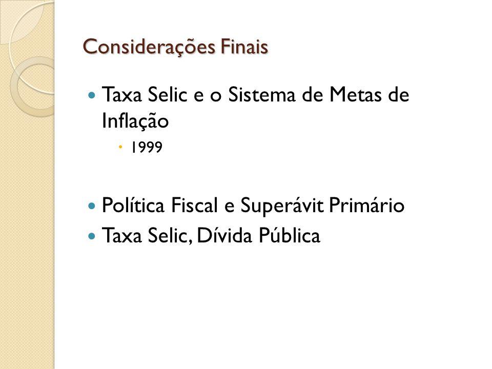 Taxa Selic e o Sistema de Metas de Inflação
