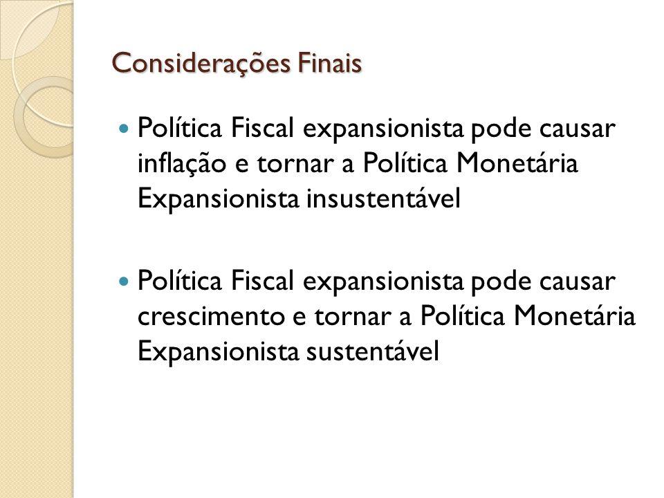 Considerações Finais Política Fiscal expansionista pode causar inflação e tornar a Política Monetária Expansionista insustentável.