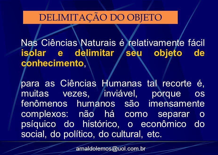 DELIMITAÇÃO DO OBJETO Nas Ciências Naturais é relativamente fácil isolar e delimitar seu objeto de conhecimento,