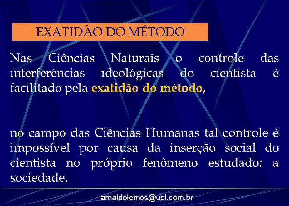 EXATIDÃO DO MÉTODO Nas Ciências Naturais o controle das interferências ideológicas do cientista é facilitado pela exatidão do método,