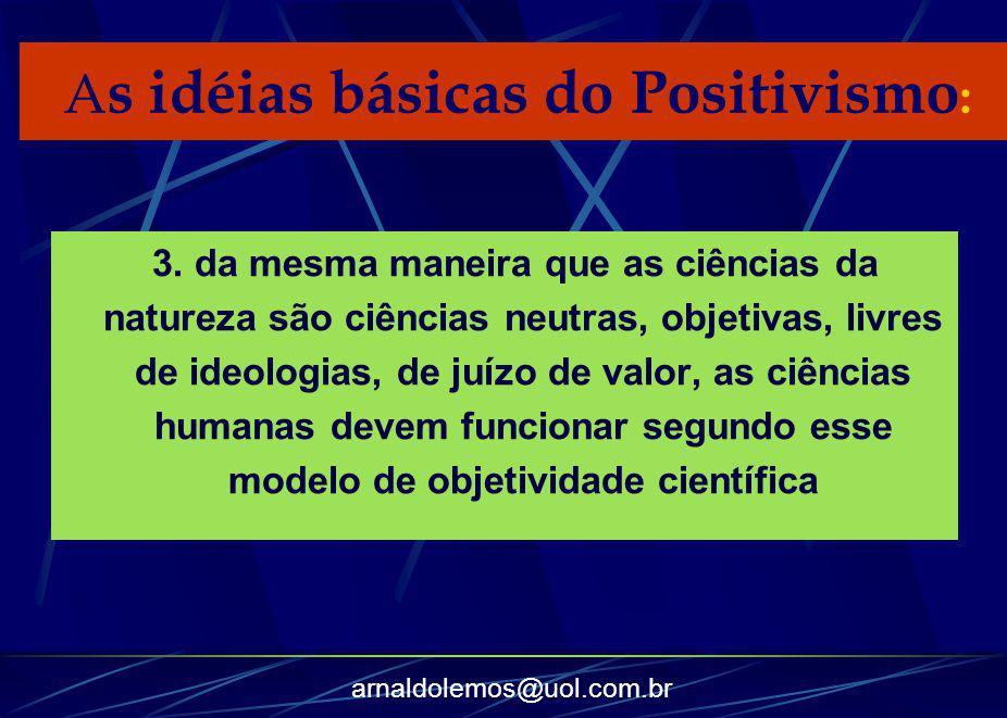 As idéias básicas do Positivismo: