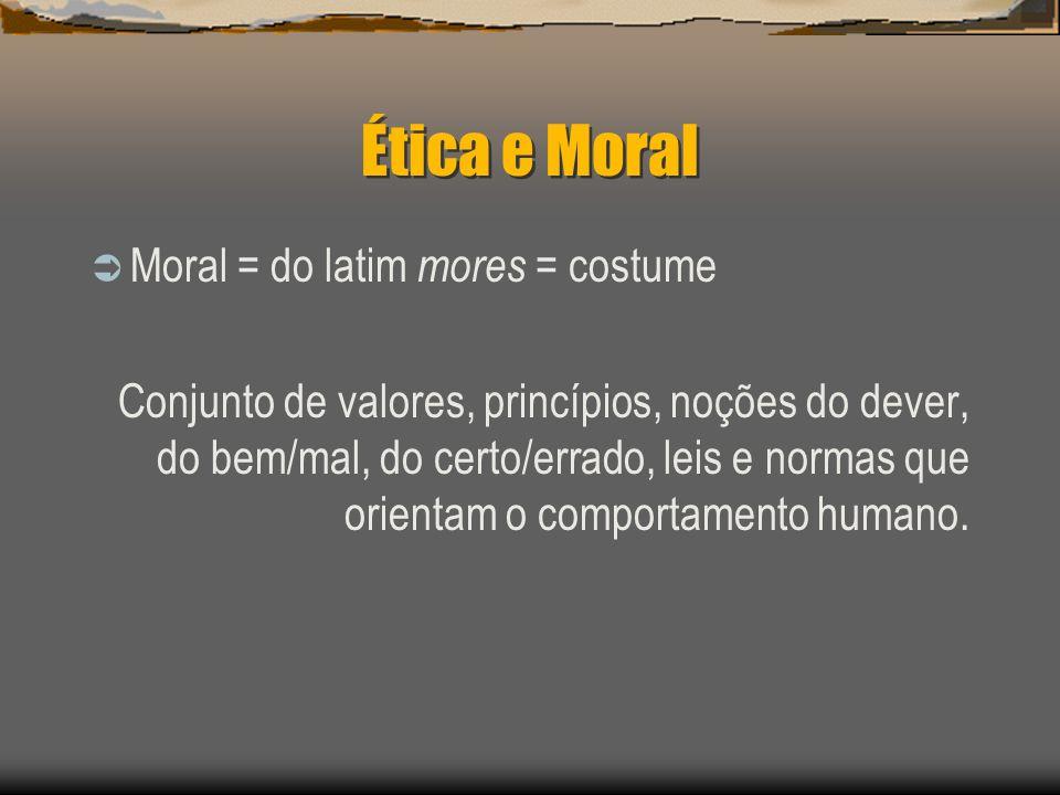 Ética e Moral Moral = do latim mores = costume