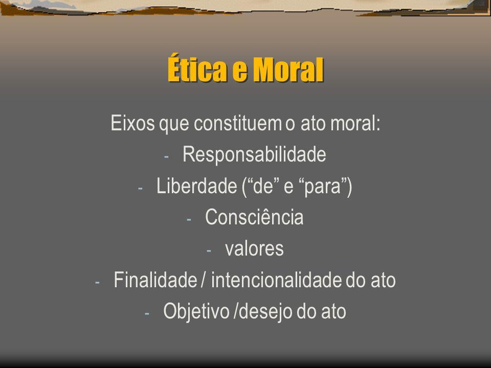 Ética e Moral Eixos que constituem o ato moral: Responsabilidade