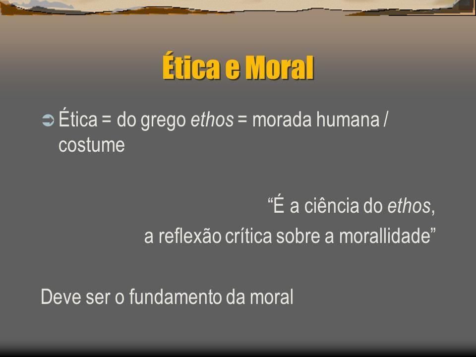 Ética e Moral Ética = do grego ethos = morada humana / costume