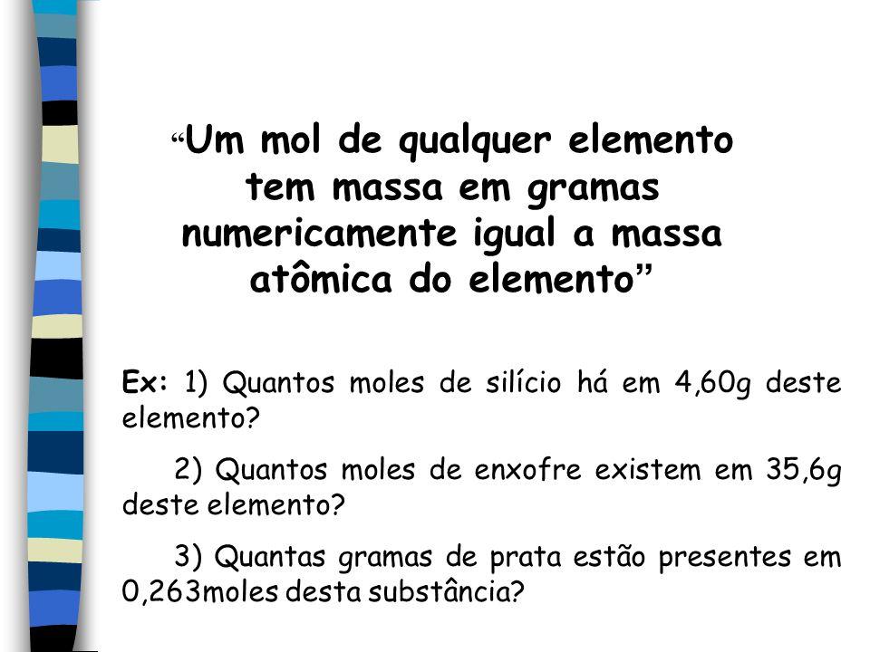 Um mol de qualquer elemento tem massa em gramas numericamente igual a massa atômica do elemento