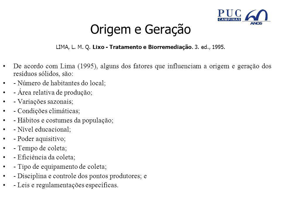 Origem e Geração LIMA, L. M. Q. Lixo - Tratamento e Biorremediação. 3