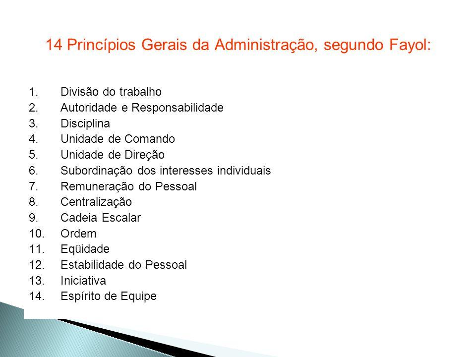 14 Princípios Gerais da Administração, segundo Fayol:
