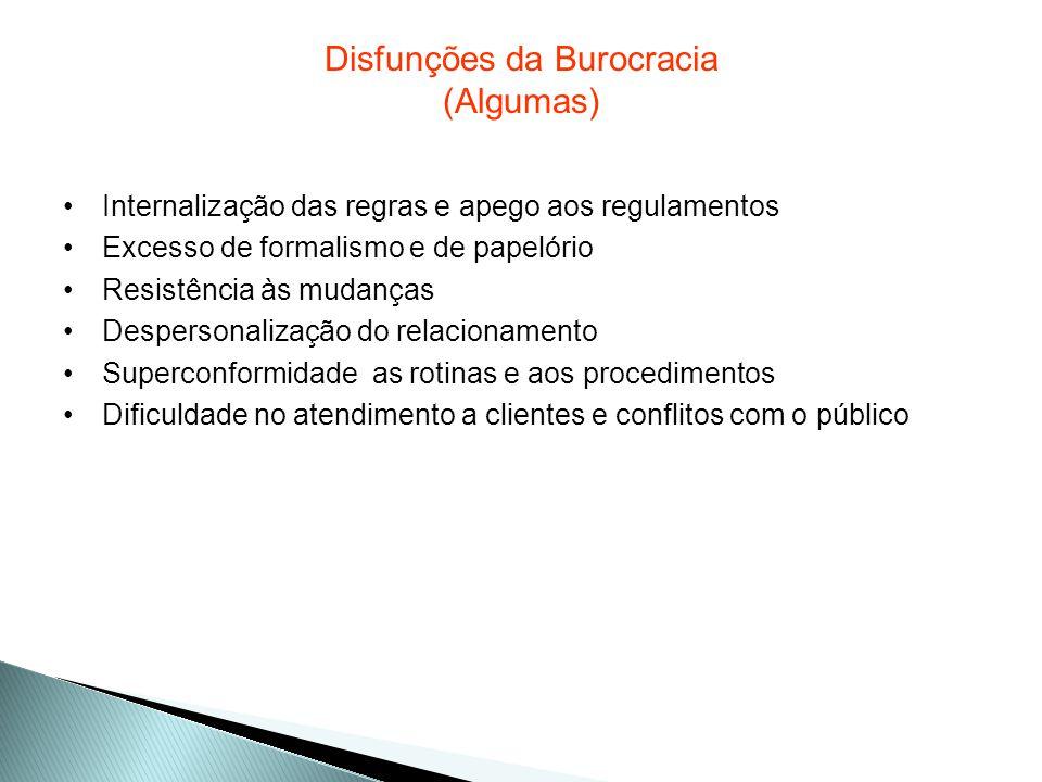Disfunções da Burocracia (Algumas)