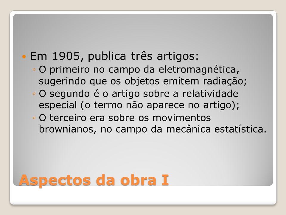 Aspectos da obra I Em 1905, publica três artigos: