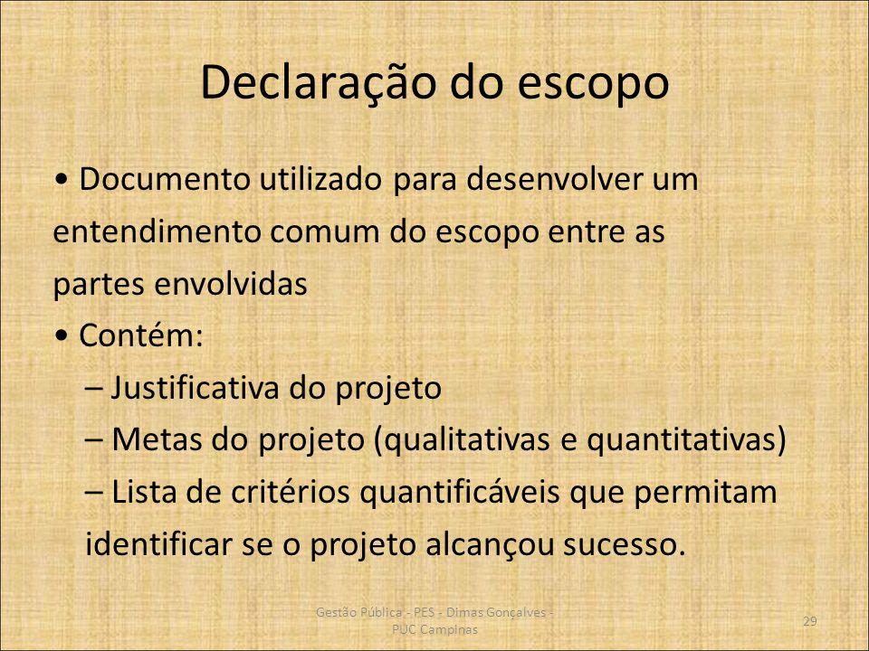Gestão Pública - PES - Dimas Gonçalves - PUC Campinas