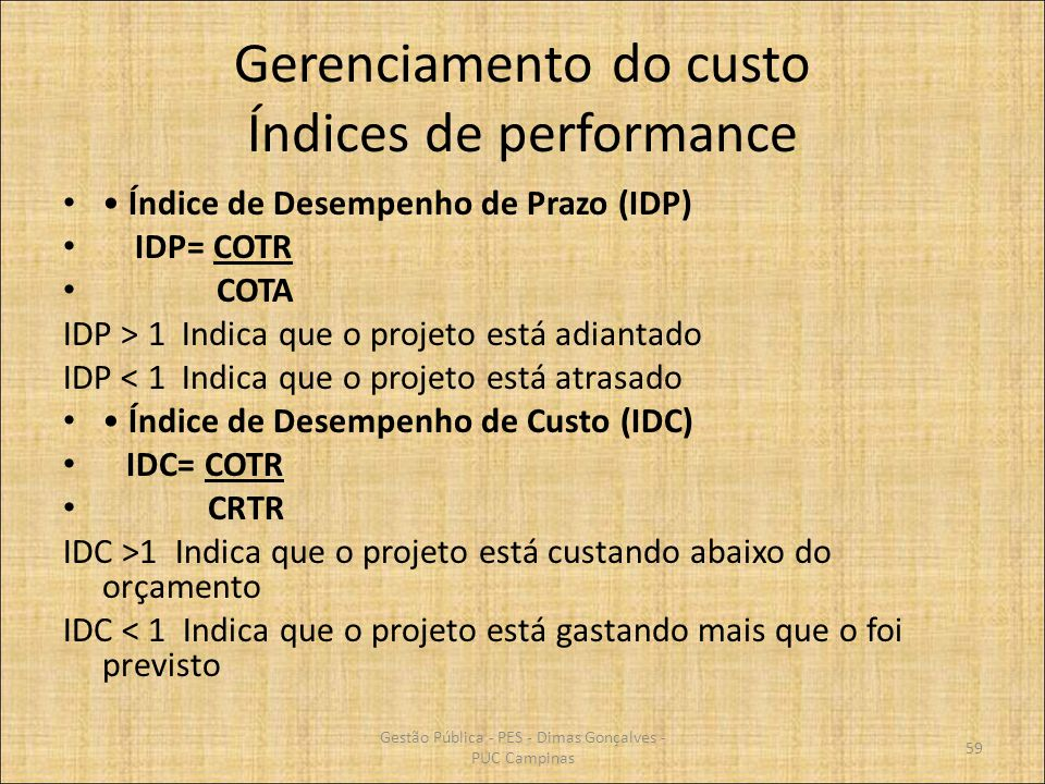 Gerenciamento do custo Índices de performance
