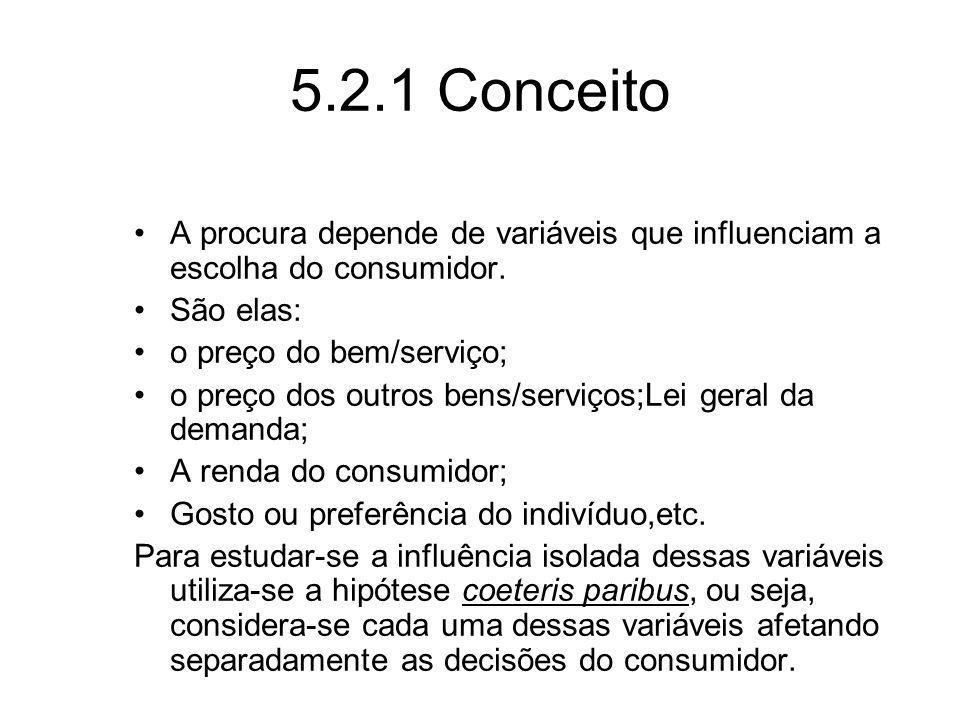 5.2.1 Conceito A procura depende de variáveis que influenciam a escolha do consumidor. São elas: o preço do bem/serviço;