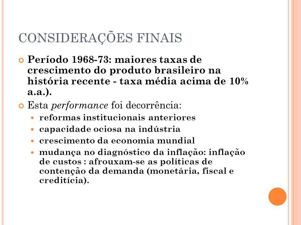 CONSIDERAÇÕES FINAIS Período 1968-73: maiores taxas de crescimento do produto brasileiro na história recente - taxa média acima de 10% a.a.).