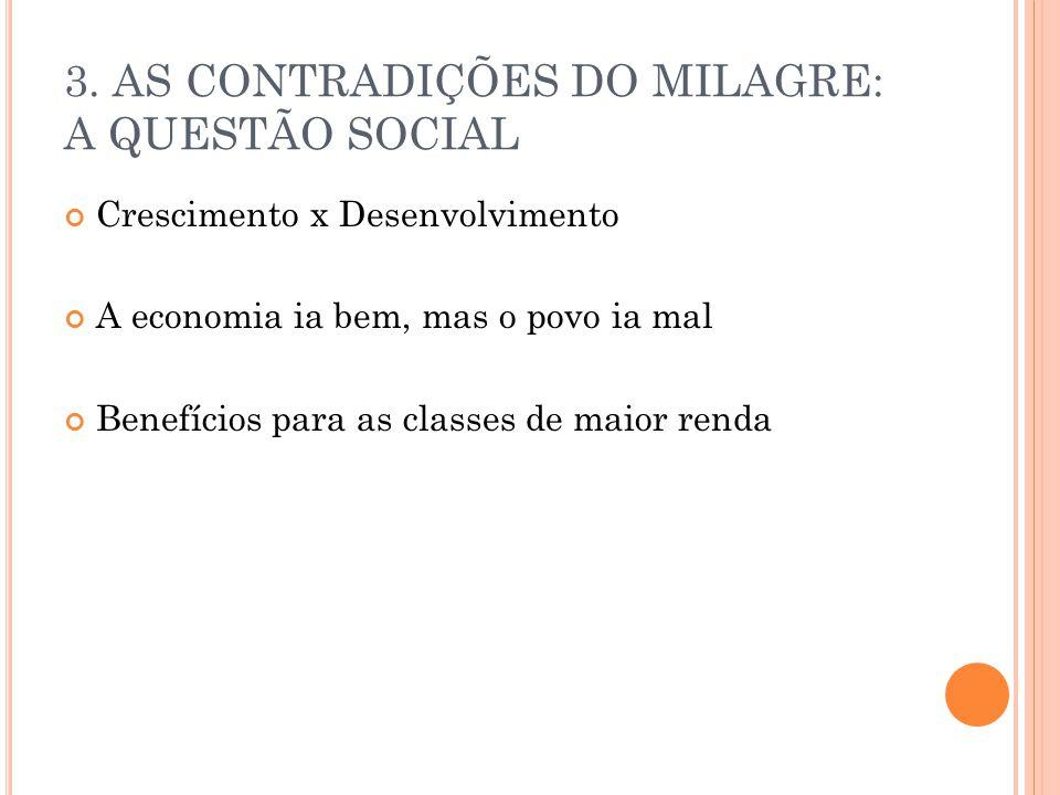 3. AS CONTRADIÇÕES DO MILAGRE: A QUESTÃO SOCIAL